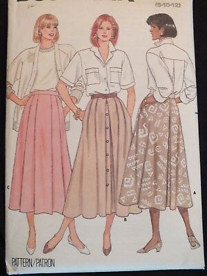 Amazing VTG 80s BUTTERICK 4644 MS Flared Skirts~3 Versions PATTERN 8-10-12 UC