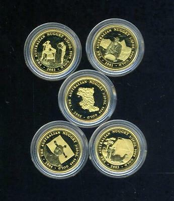 2001 - 2005 Australian Prospector Series 1/25 oz 5 Gold Proof Coin Collection