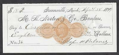 1874 Greenville Michigan Bank Check RN-D1