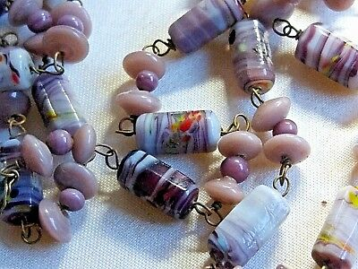 Vintage Jewellery Beautiful Czech  glass lampwork cylinder bead wired necklace