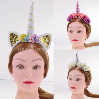 Girls Pink White Unicorn Horn Ear Headband Floral Headpiece Party Costume