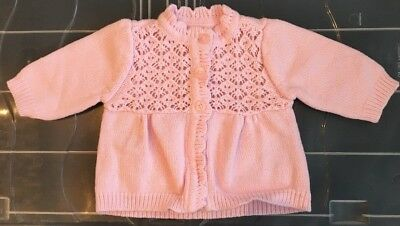 0-3 Months Mothercare Baby Girl Pink Cardigan Fine Knit Buttoned Scalloped Edge