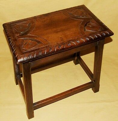 Antique Carved Solid Oak Joint Stool / Occasional Table / Lamp Stand (8)