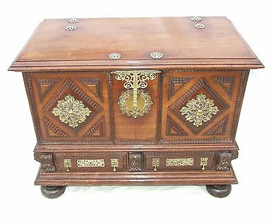 Antique MOORISH STYLE Walnut & Brass Coffer Blanket Box Dowry Chest Shoe Storgae