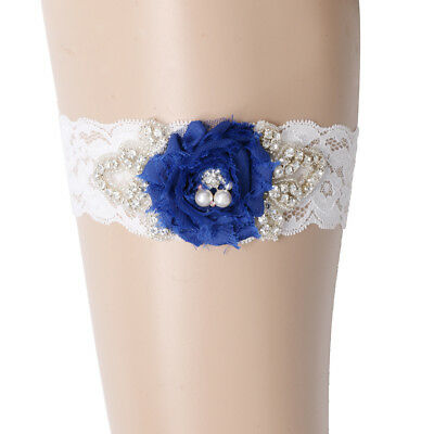 Wedding Elastic Lace Garter with Pearl Crystal Flower Decor Bride Accessories