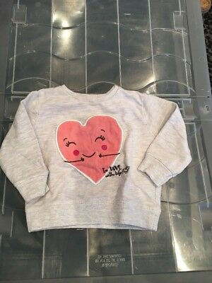 3-6 Months Zara Baby Girl Grey Pink Heart Jumper Sweater Lightweight Cotton