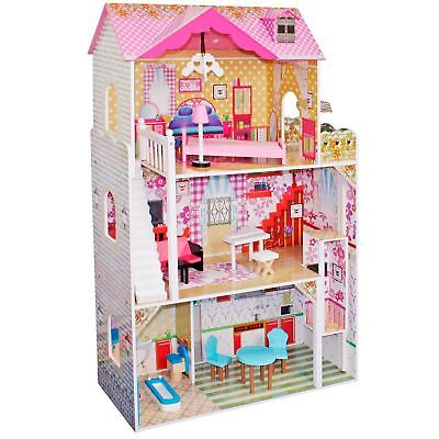 boppi® Toy Wooden Girls Dolls House 3 Storey Town + Lift + 14 Accessories