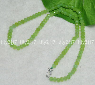 """NEW Beautiful 4mm 3Rows Green Peridot Faceted Gemstone Bead Necklace 17-19 /""""AA"""