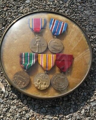 Original WWII medals ribbons (lot of 5) AFRICA PACIFIC NAVY sailor estate