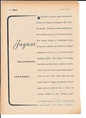 Rare 1945 Jaguar Cars**previously Ss Cars Ltd**three Vintage Original Adverts