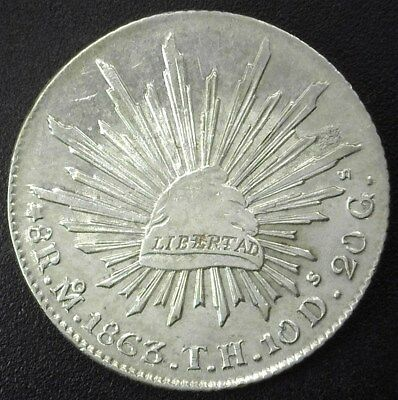 Mexico 1863-Moth Silver 8 Reales Near Choice Uncirculated