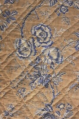 Antique French printed Quilt  section c1840-1850 Provence pique