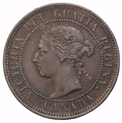 1891 Canada Large Cents SM-Date SM-Leaves Queen Victoria KM#7 Canadian Coin