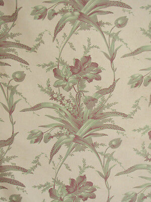 Antique French pale green fabric 19th c Botanical