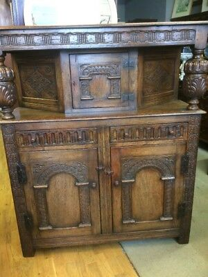 Good Size Carved Oak Court Cupboard C1900