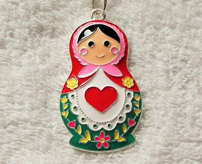RUSSIAN DOLL Inspired Large Charm NECKLACE Stacking Dolls