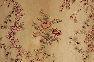 Antique French aged ground floral c 1880 printed cotton material cotton AGED
