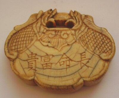ANTIQUE CHINESE CARVED AMULET TOGGLE NETSUKE CALLIGRAPHY SIGNED circa 1800 no5