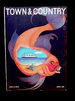 Town & Country Magazine. March 1938. Art Deco. Golf. Car Ads.  Ocean Liner
