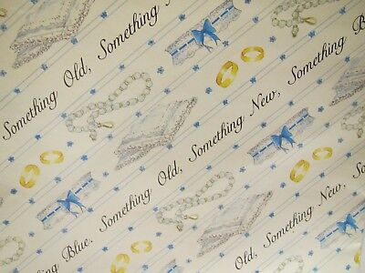 Vintage Packs 2 Sheet of Marian Heath Gift Wrapping Paper Something Blue Old New