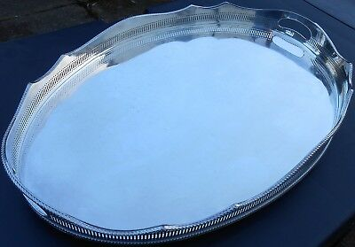 VERY LARGE 24 inch GALLERIED SERVING TRAY (A/F) VINTAGE SILVER PLATED ON COPPER