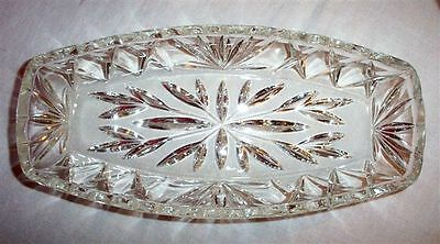 Lead-Glass 1920-40s? Crystal? Consul Pickle Tray Dish Sparkly Relief Design#1531