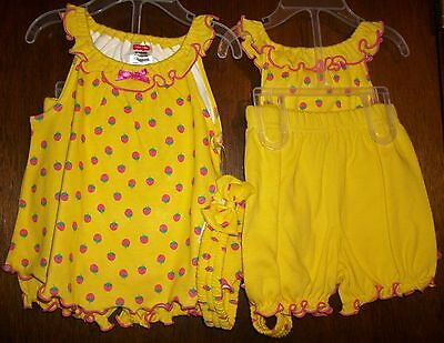 Girls Short Set sz6-9 mos FISHER-Price Yellow Ruffled Top,Head Band&Bloomers NWT