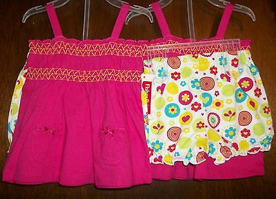 Girls Short Set sz 12mos FISHER-PRICE Pink Smocked Top/White Floral Bloomers NWT