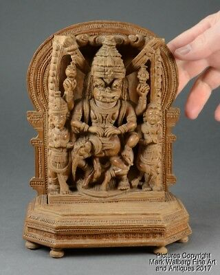 Indian Wood Carving, Deity & Attendants, Mandorla & Base, Fine Details, 19th C.