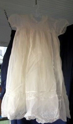 TWO Vintage Baby Christening Gown* Amazing Lace + Taffeta Slip WOW!!!