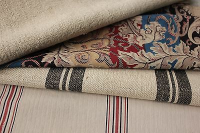 Vintage French fabric Project bundle quilting pillow materials ticking stripes