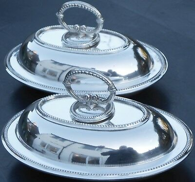 Cute Pair Mini Size Entree / Serving Dishes - Silver Plated - Antique