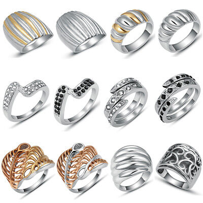 316L Stainless Steel Fashion Women Ladies Simple Wedding Rings Band Jewelry Gift