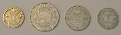 1950 MOROCCO Silver and Aluminum 4 Coin Essai (Pattern) Boxed Set