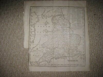 Early Rare Superb Antique 1783 England Wales Copperplate Map London County Fine
