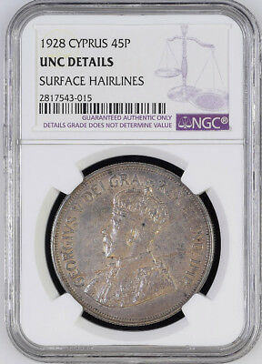 1928 Cyprus 45 Piastres KM# 19 Silver George V Crown NGC UNC Rare 80k Minted