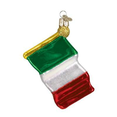 Red White Green Italian Flag Old World Christmas Glass Italy Ornament Nwt 36096