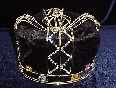 #305 King's Crown - Black velvet and Gold-tone metal