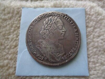1724 Russia PETER I Rouble silver coin