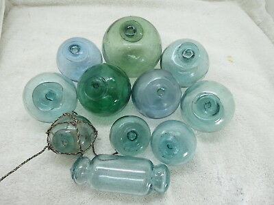 (#1661)  Lot 11 Authentic Japanese Glass Fishing Net Floats Balls Buoys Bouy