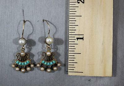 Pair Antique Aesthetic 14kt Yellow Gold Seed Pearl & Turquoise Earrings, NR