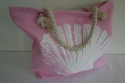 Pink & White Shell Hamptons Rope Handles Large Canvas Shopper Tote Beach Bag