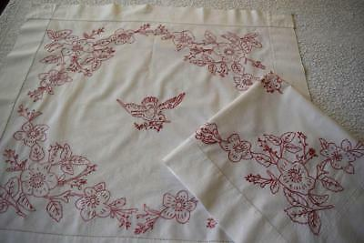 Pair Vintage Turkey Red Redwork Bed Pillow Layovers Antique Linen Birds