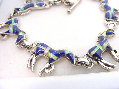 OPAL and LAPIS LAZULI HORSE LINK STERLING SILVER BRACELET... SOLD AT NO RESERVE