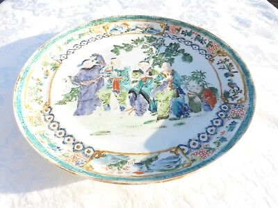 WONDERFUL ANTIQUE CHINESE Porcelain PLATE People in a Garden Scene 1800s