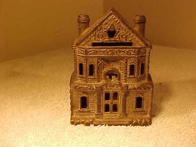 Antique Cast Iron  Building Still Bank with Circular Chimneys DATED 1899