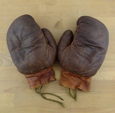 Pair of Vintage Leather Boxing Gloves, Collectable Sports Display