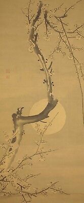 """JAPANESE HANGING SCROLL """"Moon and Ume Tree""""  @f981"""