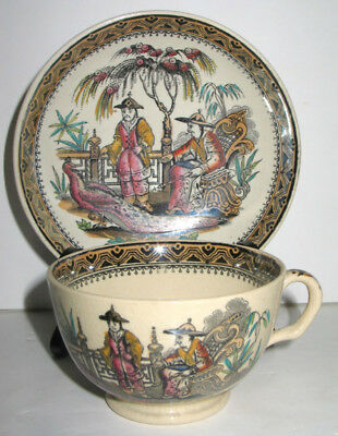 Antique Vicorian Chinoisserie Chusan Polychrome Luster Cup & Saucer Edge Malkin