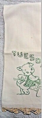Scotty Scottie Dog Tuesday Ironing Green  Day Of the Week Kitchen Towel